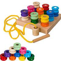 Пирамидка шнуровка Катушки развивающая деревянная игрушка