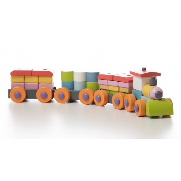 Конструктор каталка Поезд деревянный ТМ CUBIKA