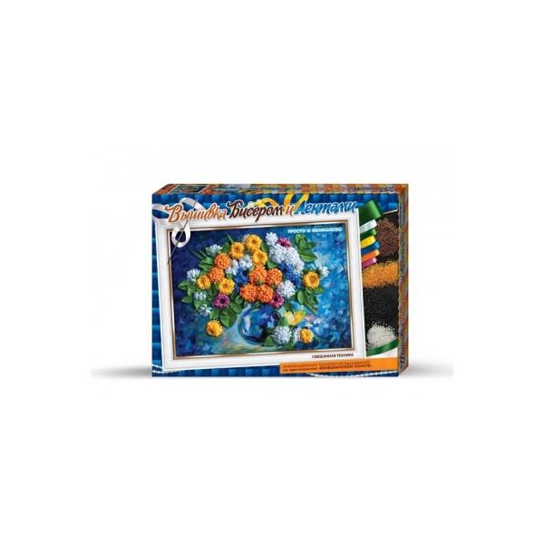 Хризантемы вышивка бисером и лентами