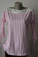 Блуза женская клеточка лодочка, фото 1