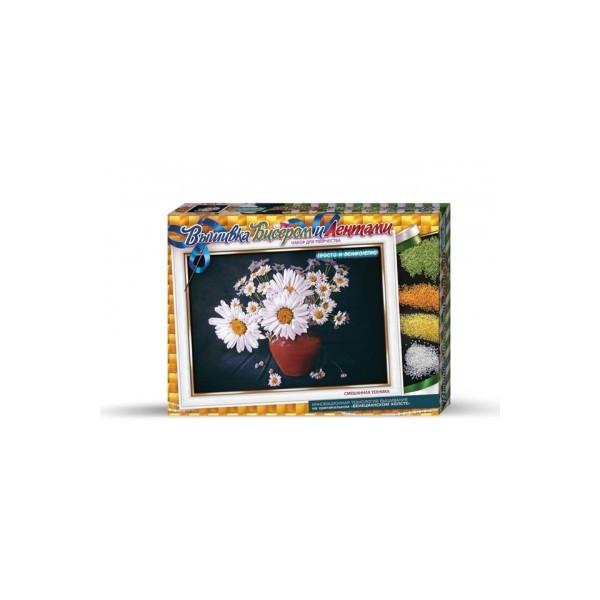 Ромашки вышивка бисером и лентами