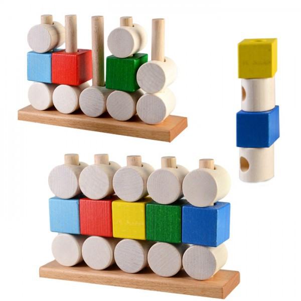Пирамидка Кубики и цилиндры развивающая деревянная игрушка