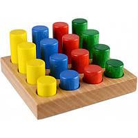 Цветные цилиндры по системе Монтессори развивающая деревянная игрушка
