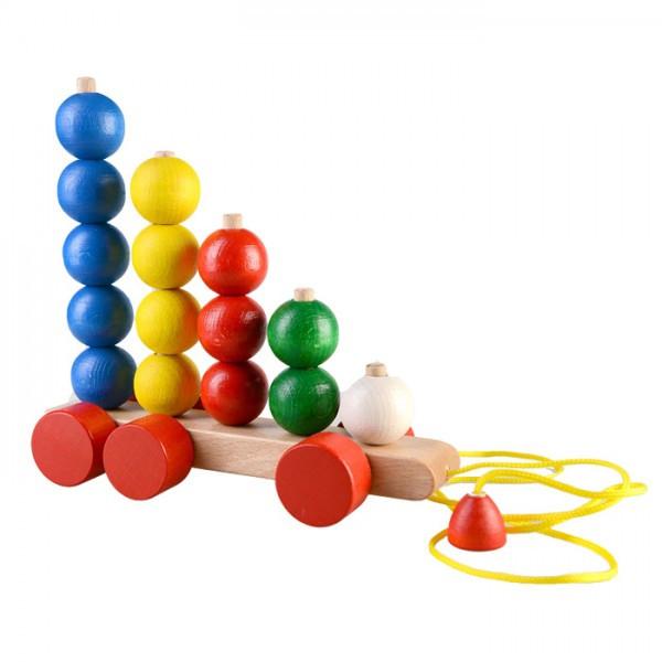 Пирамидка-каталка Шарики на роликах развивающая деревянная игрушка