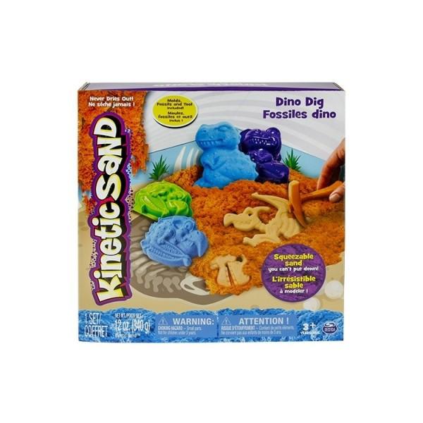 Kinetic Sand Кинетический песок для детского творчества DINO (голубой, коричневый, формочки, окаменелости,340г)