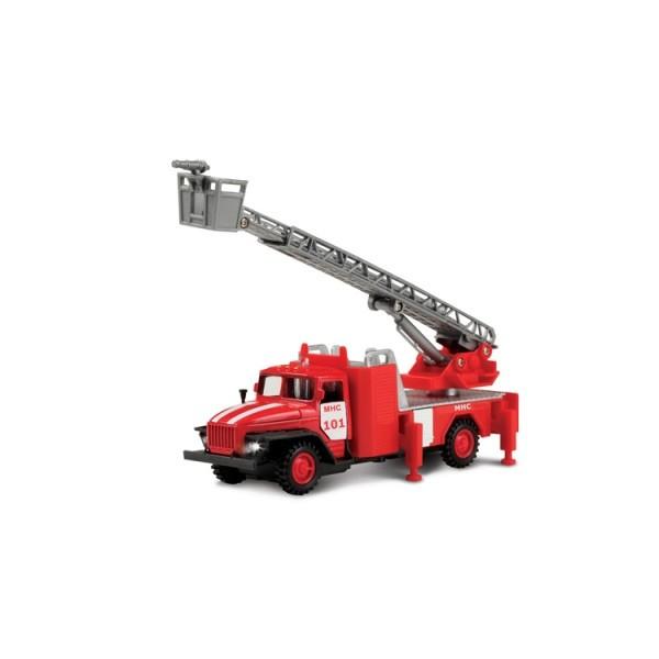 Автомодель- Урал пожарная с стрелой звуком и светом
