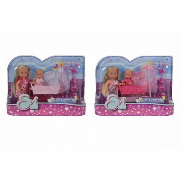Кукольный набор Эви с малышом в кроватке, 2 вида,