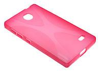 Силиконовый чехол для Nokia X розовый New Line