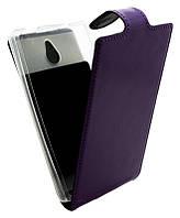 Чехол-книжка для Nokia X2 B45 Лак фиолетовая кожа с силиконом