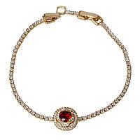 005-0733 - Позолоченный браслет с красным и прозрачными фианитами, 18, 18-20 см