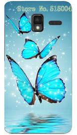 Силиконовый чехол для Lenovo A850+ с рисунком три синие бабочки