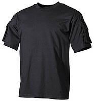 Тактическая футболка спецназа США, чёрная, с карманами на рукавах, х/б MFH 00121A