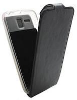 Чехол-книжка для Lenovo A8/A808 B45 Classic черная кожа с силиконом