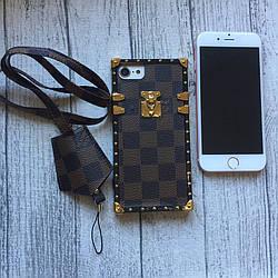 Чехол Louis Vuitton коричневая клетка для iPhone 7 силиконовый