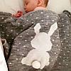 """Вязаный плед для новорожденных """"Ушастый мечтатель"""" серый"""