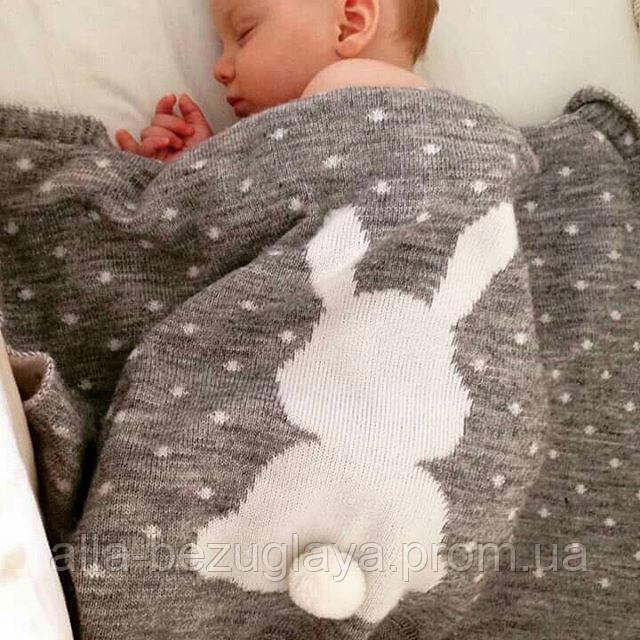 вязаный плед для новорожденных ушастый мечтатель серый цена 545