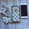 Чехол Louis Vuitton белая клетка для iPhone 7 силиконовый