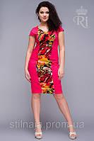 Платье стрейч-коттон деловой стиль с вставкой жоржет, фото 1