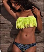 Желтый красочный и яркий женский купальник бандо. Доступная цена. Хорошее качество. Дешево. Код: КГ763