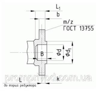 Размеры концов тихоходных валов редуктора РК-500 в виде зубчатой полумуфты