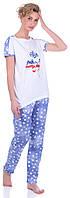 Комплект одежды жен. USA белый L (футболка+шорты)