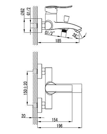 Imprese NOVA VLNA смеситель для ванны, 40 мм, фото 2