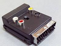 41141     Штекер Скарт - гнездо Скарт + 3 гнезда RCA+S-VHS с переключателем