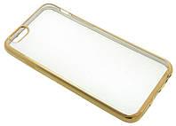 Силиконовый чехол для iPhone 6 прозрачный с золотистым бортом