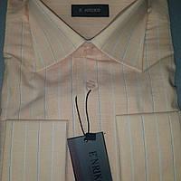 Персиковая мужская рубашка под запонку ENRICO (размеры M.L.XL.XXL)