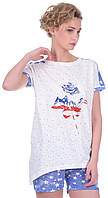 Комплект одежды жен. USA бежевий XL (футболка+капри)