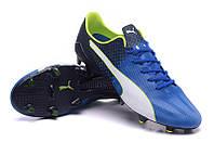 Футбольные бутсы Puma evoSPEED 1.4 SL FG Electric Blue Lemonade/Black/Lime