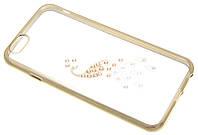 """Силиконовый чехол для iPhone 6 с рисунком """"Павлин в золоте"""" Swarovski"""
