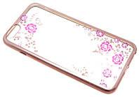 """Силиконовый чехол для iPhone 6 Plus с рисунком """"Розы с бабочкой в меди"""" Swarovski"""