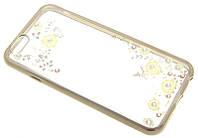 """Силиконовый чехол для iPhone 6 с рисунком """"Розы с бабочкой в золоте"""" Swarovski"""