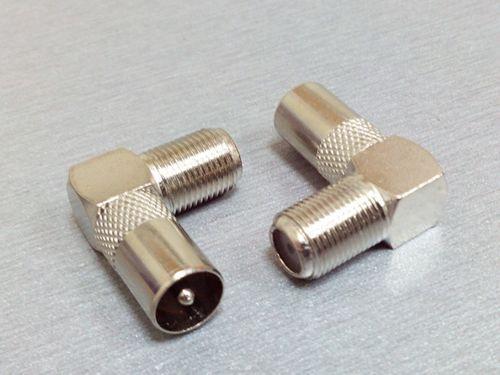 Штекер TV - гнездо F угловой метал 15 мм