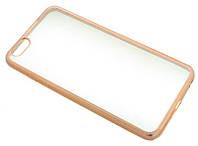 Силиконовый чехол для iPhone 6 Plus прозрачный с золотым бортом Burlesque