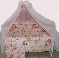 """Постельный набор в детскую кроватку """"Пупсик"""" розовое 9 эл."""