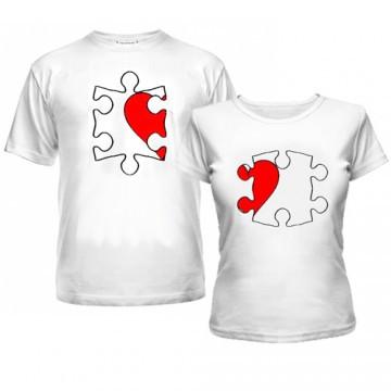 "Парные футболки ""Любовные пазлы"""
