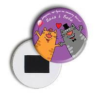 """Свадебный закатной сувенирный магнит на холодильник  """"Закохані котики"""""""