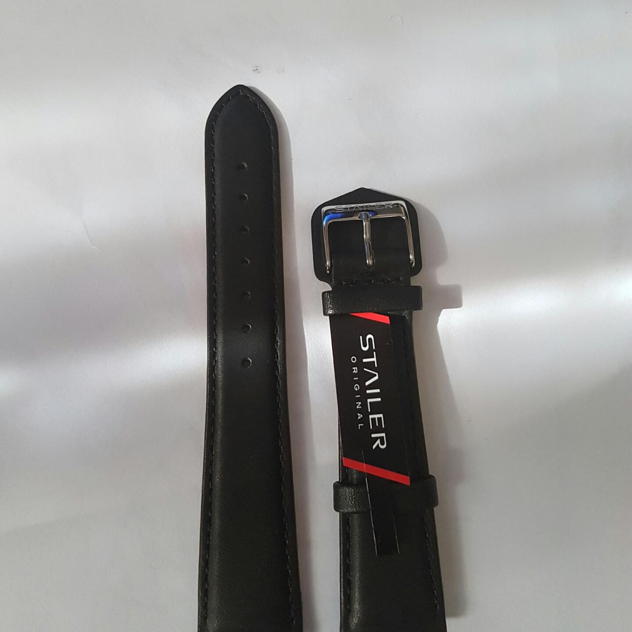 Кожаный ремень Stailer- черный, гладкий ремень  с заужением на два размера