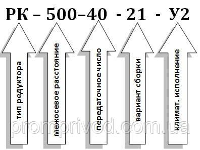 Условное обозначение редуктора РК-500