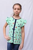 Детская бирюзовая блузка из креп-шифона с принтом стрекоза