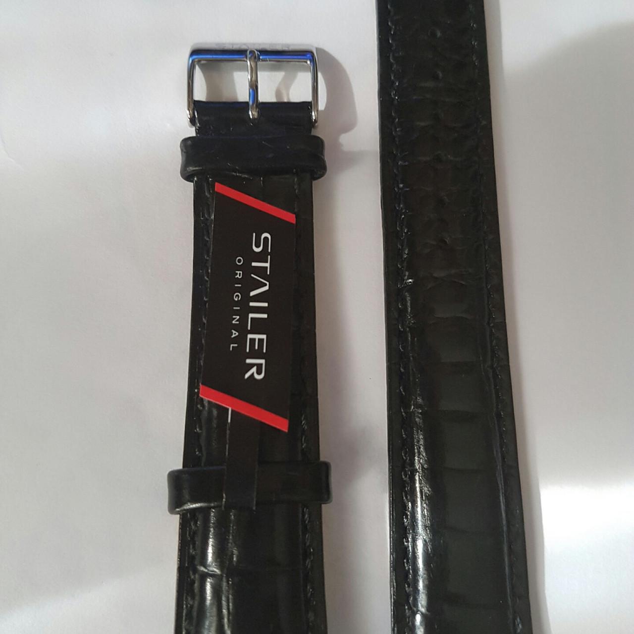 Кожаный ремень Stailer - черный ремень с выделкой под крокодил.