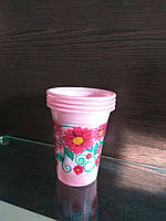"""Стакан одноразовый полипропиленовый красный 200 мл с рисунком """"Цветы"""""""