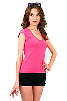 Розовая яркая футболка женская спортивная летняя с коротким рукавом хлопок стрейч трикотажная (Украина)