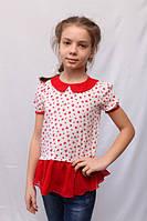 Оригинальная детская блуза с воротником красным шифоном по низу