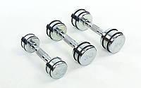 Гантель для фитнеса хром. DB5204-1 (1x2кг) (1шт, хромированное покрытие, с резин. кольцами)