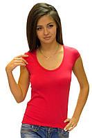 Красная футболка женская спортивная на лето с коротким рукавом хлопок стрейч трикотажная (Украина) 42