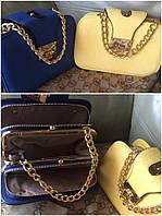Стильная женская сумка поцелуйчик, размер 21 * 14 см, материал эко кожа. Цвет электрик и нежно желтый