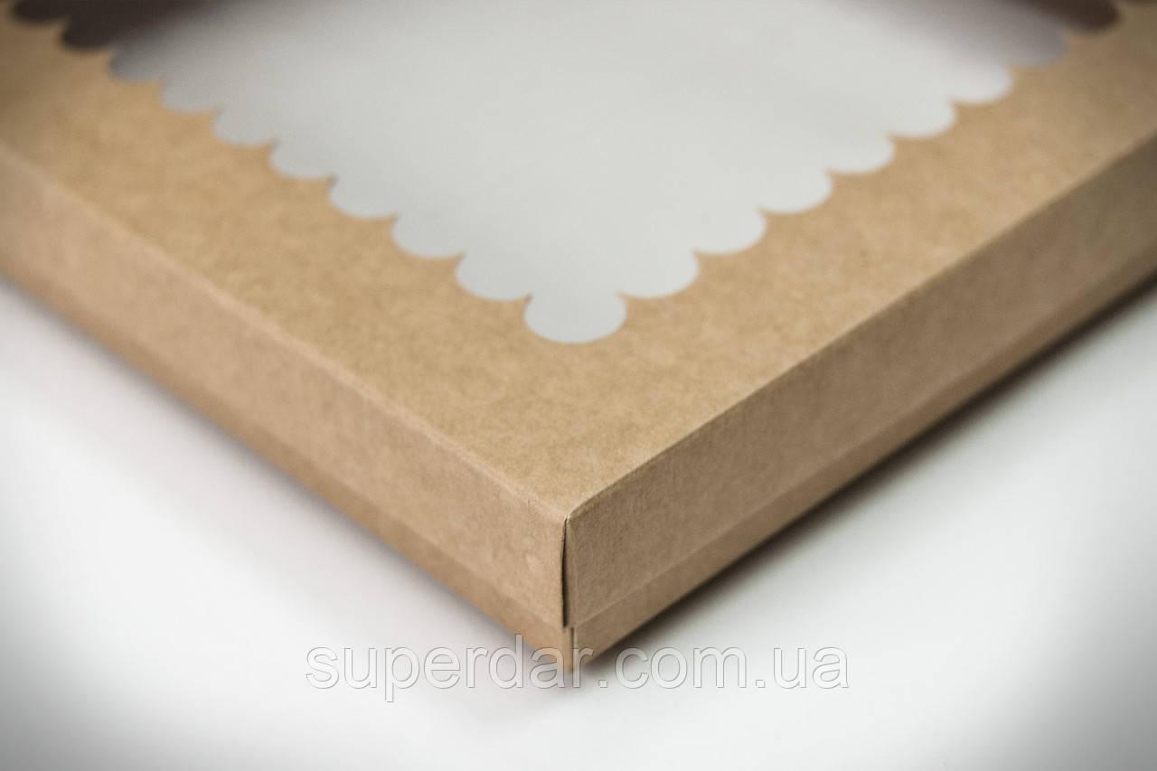 Коробка для печенья и пряников с прозрачным окном,200х170х30, крафт